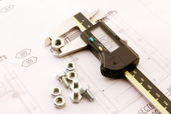 Caliber. Digital instrument caliber, measuring screws, bolts end desing Royalty Free Stock Image