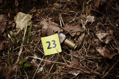 Caliber .45 Auto on place of crime Royalty Free Stock Image