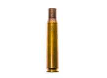 0.50 caliber Bullet case ammo for military sniper Rifle. Empty military grade ammunition for different guns isolated on white background Stock Photography