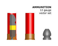 12 caliber cartridge on white background. The circuit structure of the munition. Vector illustration. Design element. The bullet, liner, powder, wad, capsules Stock Illustration