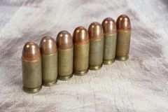 The .45 caliber cartridges Royalty Free Stock Photography
