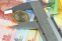Caliber with one euro Stock Image
