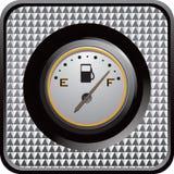 Calibrador del gas en el botón checkered de plata del Web Fotos de archivo