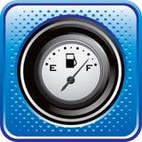 Calibrador del gas en el botón de semitono azul del Web Fotografía de archivo