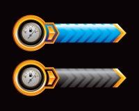 Calibrador del gas en flechas azules y negras Imágenes de archivo libres de regalías
