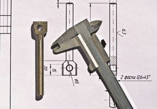 Calibrador a vernier, detalle, dibujando Fotografía de archivo libre de regalías