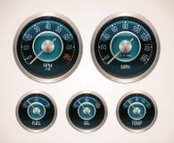 Calibradores de coche retros del vector Imagen de archivo libre de regalías