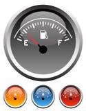 Calibradores de combustible del tablero de instrumentos Imágenes de archivo libres de regalías