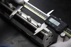 Calibration digital vernier. With caliper checker Royalty Free Stock Photos