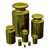 Calibration Masses - Brass. Accurate brass weights for calibrating laboratory scales Royalty Free Stock Photo