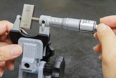 Calibration micrometer. In laboratory at factory Stock Photography