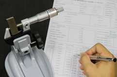 Calibration micrometer. In laboratory on factory Stock Images