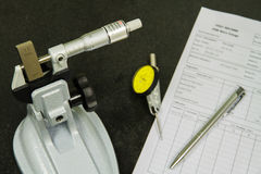 Calibration micrometer. At laboratory in factory Stock Photo
