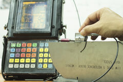 Calibration standard probe of ultrasonic test Stock Photos