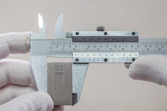 Calibration VERNIER with gage block. Calibration Vernier caliper with gage block Stock Photography