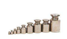 Calibration weight set. On white background Stock Images