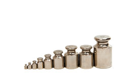 Calibration weight set. On white background Royalty Free Stock Image