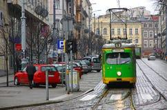 Calibratori per allineamento dell'annata su una via di Poznan Fotografie Stock Libere da Diritti