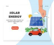 Calibre à énergie solaire de conception de vecteur de page d'accueil de site Web illustration libre de droits