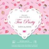 Calibre élégant avec le coeur de dentelle de coupe-circuit Invitation de réception de thé Modèle sans couture avec des bonbons in illustration libre de droits
