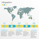 Calibre étape-par-étape d'Infographics avec 5 flèches Concept infographic d'affaires avec la carte du monde Illustration de vecte Photo stock