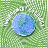 Calibre abstrait avec le globe au milieu sur le fond onduleux de vert vif Photographie stock libre de droits