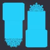Calibre abstrait d'invitation de coupe-circuit de mariage Approprié à lasercutting Plis de dentelle Photos stock