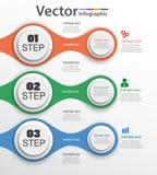 Calibre abstrait d'options de nombre d'infographics avec trois étapes Images stock