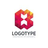 Calibre abstrait de conception de logo de la lettre B de polygone de tendance Photo stock
