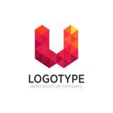 Calibre abstrait de conception de logo de la lettre W de polygone de tendance Image stock
