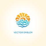 Calibre abstrait de conception de logo de vecteur - le soleil et mer illustration de vecteur