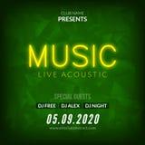 Calibre au néon de fond d'affiche de Live Music Concert Acoustic Party avec l'insecte au néon de signe des textes Illustration de Vecteur