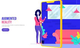 Calibre augmenté de site Web de concept de réalité pour la page Web Une fille employant l'appli isométrique de conception intérie illustration de vecteur