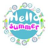 Calibre avec l'été d'expression bonjour Ensemble de marchandises sportives lettrage Vecteur Images stock