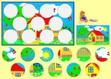 Calibre avec l'exercice pour des enfants Devez couper les cercles et les coller dans les endroits appropriés Image libre de droits