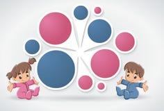 Calibre avec les bébés heureux d'une bande dessinée Photographie stock libre de droits