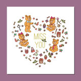 calibre avec Teddy Bear mignon illustration stock