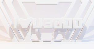 Calibre blanc 3d de scène rendre la scène, conception géométrique de construction illustration libre de droits