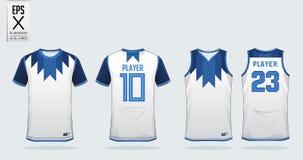 Calibre blanc de conception de sport de T-shirt pour le débardeur de football, le kit du football et le dessus de réservoir pour  illustration libre de droits