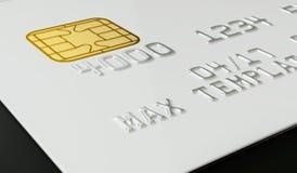 Calibre blanc vide de carte de crédit sur le fond noir - rendu 3D Photos stock