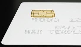 Calibre blanc vide de carte de crédit sur le fond noir - rendu 3D Photographie stock libre de droits