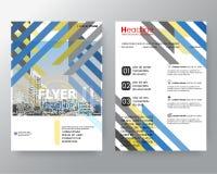 Calibre bleu et jaune abstrait de disposition de conception d'affiche d'insecte de couverture de rapport annuel de brochure d'arm Images libres de droits