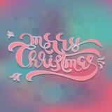 Calibre calligraphique de carte de conception de lettrage des textes de Joyeux Noël illustration libre de droits