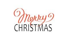 Calibre calligraphique de carte de conception de lettrage des textes de vecteur de Joyeux Noël Photos libres de droits