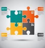 Calibre carré d'Infographics de morceau de puzzle avec le concept d'affaires Photo stock