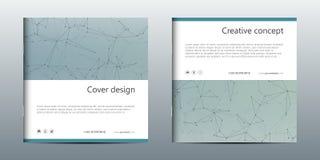 Calibre carré de brochure avec la structure des particules et de l'atome moléculaires Fond abstrait polygonal médecine Photos stock