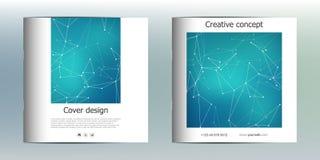 Calibre carré de brochure avec la structure des particules et de l'atome moléculaires Fond abstrait polygonal médecine Photo stock