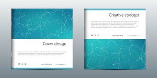 Calibre carré de brochure avec la structure des particules et de l'atome moléculaires Fond abstrait polygonal médecine Photographie stock