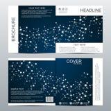 Calibre carré de brochure avec la structure des particules moléculaires et de la science abstraite polygonale de médecine de fond Photographie stock libre de droits