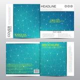 Calibre carré de brochure avec la structure moléculaire Fond abstrait géométrique Médecine, la science, technologie Vecteur Photographie stock libre de droits